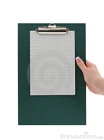 Hand holding a clipboard with squared paper page #2