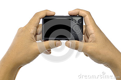 Hand Holding Compact Camera