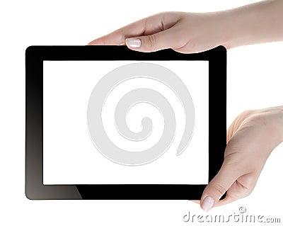 Hand Holding Digital Tablet