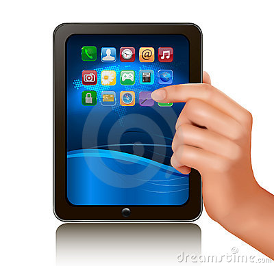 A hand holding digital tablet computer with icons.