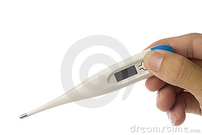 Hand holding a digital thermometer