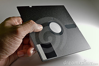 Hand holding Diskette of 5,25 inches