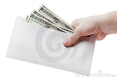 Hand holding dollar envelope