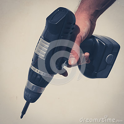 Free Hand Holding Drilling Machine , Electric Screwdriver Stock Photography - 82178702