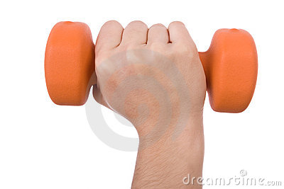 Hand holding a dumbbell