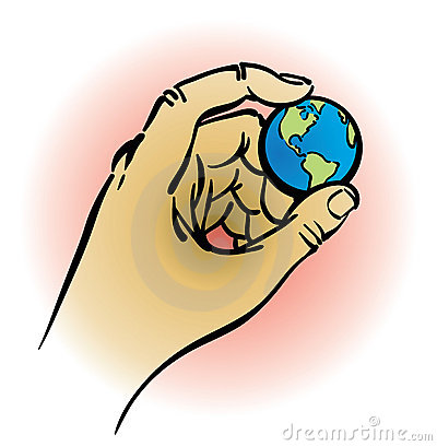 Hand holding earth.