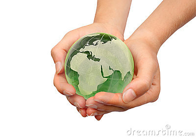 Hand holding the Earth isolated