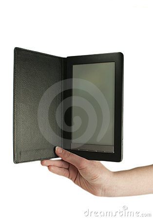 Hand holding an ebook reader