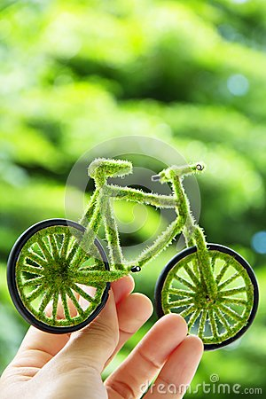 Hand Holding Eco bicycle icon