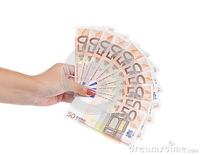 Hand holding fifty-euro notes