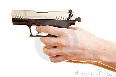 Hand holding firearm