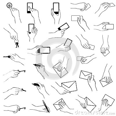 Stock Illustration Hand Holding Gestures Collection Hands Key Phone Card Sketch Image41564597 on gesture icon