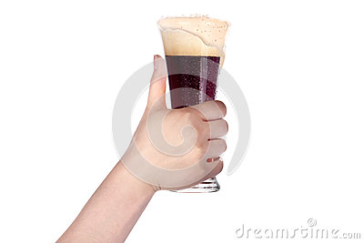 Hand holding glass of beer isolated.making toast
