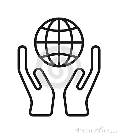 Hand with globe icon Vector Illustration