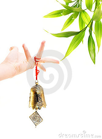 Free Hand Holding Golden Bell Stock Images - 6155134