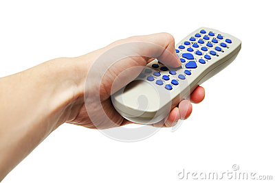 Hand holding gray remote control with blue buttons