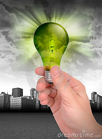 Free Hand Holding Green Energy Light Bulb Stock Image - 16860001