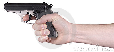 Hand Holding Handgun, Gun, Pistol, Weapon Isolated