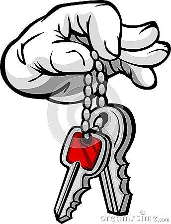 Hand Holding Keys in Fingers Cartoon