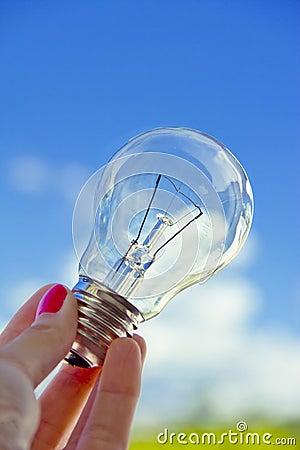 Female hand holding lightbulb, business vision