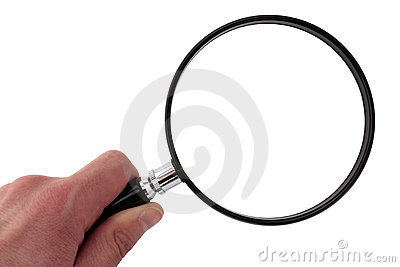 Hand Holding Magnifying Glass with clipping path
