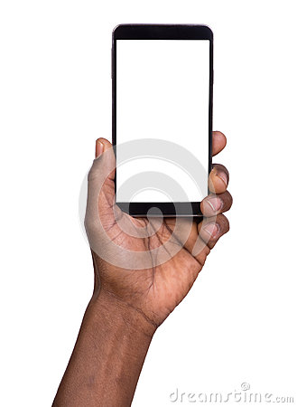 Free Hand Holding Mobile Smart Phone With Blank Screen Stock Photo - 43596260