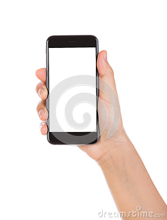Free Hand Holding Mobile Smart Phone With Blank Screen Isolated On Wh Stock Photo - 47637460