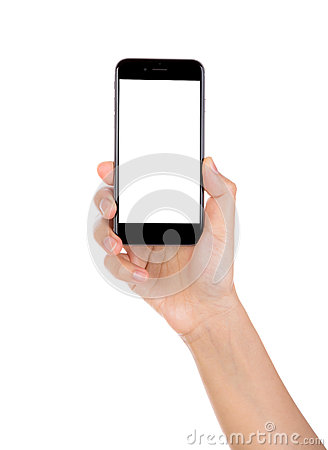 Free Hand Holding Mobile Smart Phone With Blank Screen Isolated On White Background Royalty Free Stock Image - 49843356