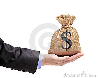 A hand holding a money bag