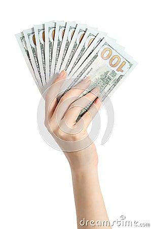 Free Hand Holding Money One Hundred Dollars Banknotes Royalty Free Stock Photo - 51186175