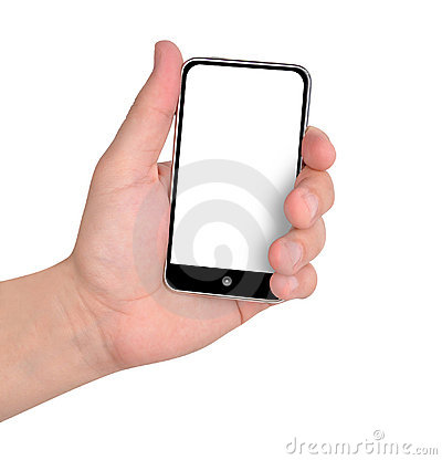 Hand Holding Music Phone on White