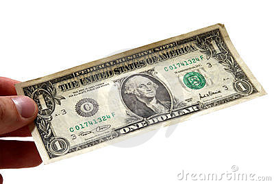 Hand holding one dollar bill