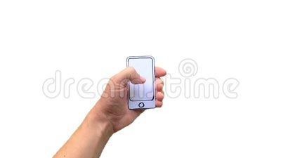 Hand holding paper mobile smart phone with blank screen. Isolated on white background stock video