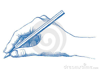 Hand holding pencil,