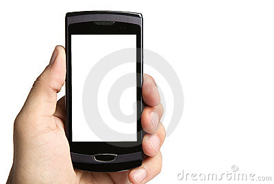 Hand holding phone, clipping paths included