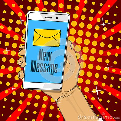Free Hand Holding Phone With Letter And New Message Text On The Screen. Royalty Free Stock Photo - 129728225