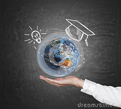 Free Hand Holding Planet. Royalty Free Stock Images - 47877819