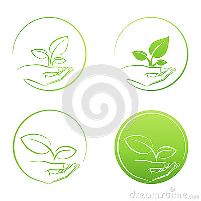 Free Hand Holding Plant, Logo Growth Concept Vector Set Royalty Free Stock Images - 51149189