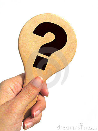Hand holding question mark signpost - isolated