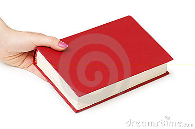Hand holding red book isolated