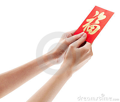 Hand holding red packet