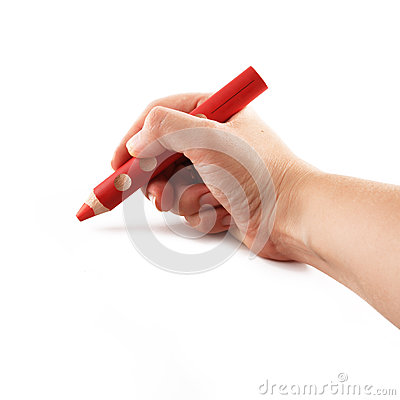 Hand holding a red pencil