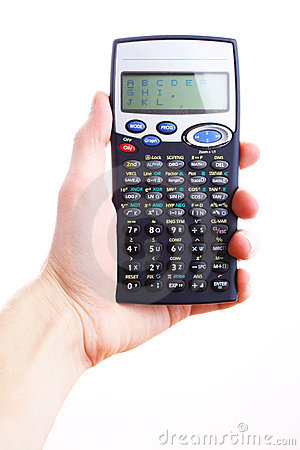 Hand holding scientific calculator. Isolated