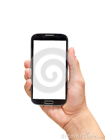 Free Hand Holding Smart Phone (Mobile Phone) Royalty Free Stock Image - 57760856