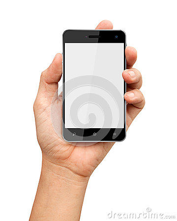 Hand holding smart phone with on white background