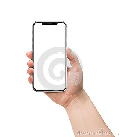 Free Hand Holding Smartphone. Stock Photography - 143860232