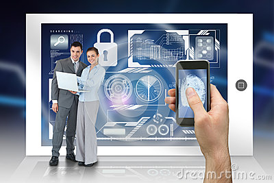 Hand holding smartphone with interface and business partners behind