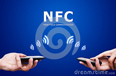 Hand holding smartphone with NFC technology