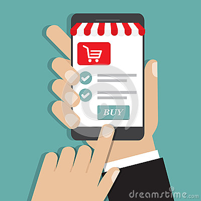 Hand holding smartphone with and screen buy. Concept online shopping Vector Illustration