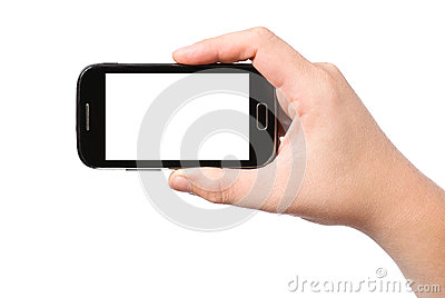 Hand holding smartphone with white screen